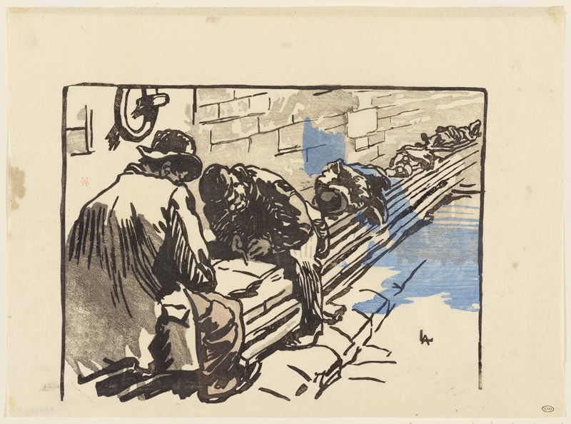 two men seated on short wall, facing one another, in foreground; other figures lying on wall in background; printed in grey, tan, black and blue