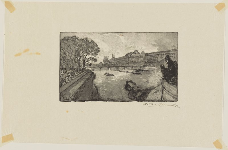 figures on boat at right; figures on path by water behind railing at left; trees at left; buildings in URC; bridge and boats at center