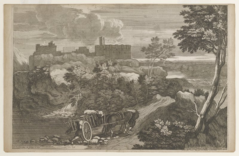 castle on rocky bluff above stream upper right; two men with horse cart on road center foreground; large tree at right; stream with small pond lower left; river with waterfall at right