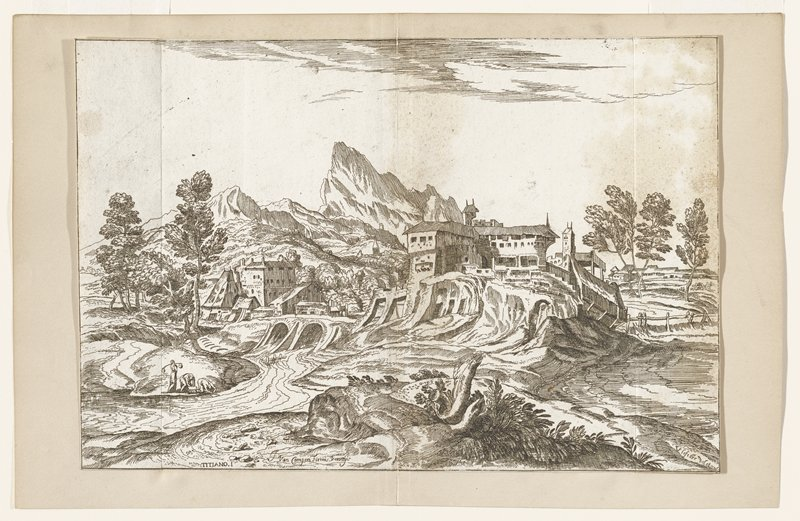 three washerwomen beside a stream lower left; buildings on bluff above stream right center and left center; bridge over stream between buildings has two arches; mountains distance center