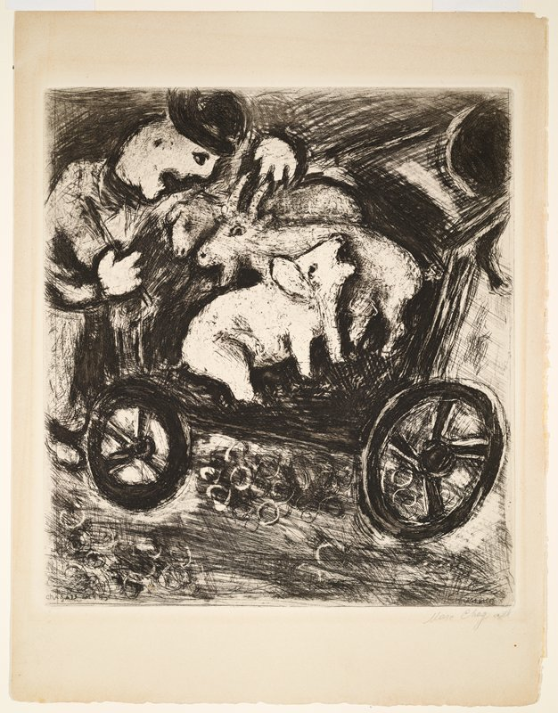 """man at left wearing bowler hat, with three animals (goat, sheep and pig) in a cart; plate 92 from """"Les Fables de la Fontaine"""""""