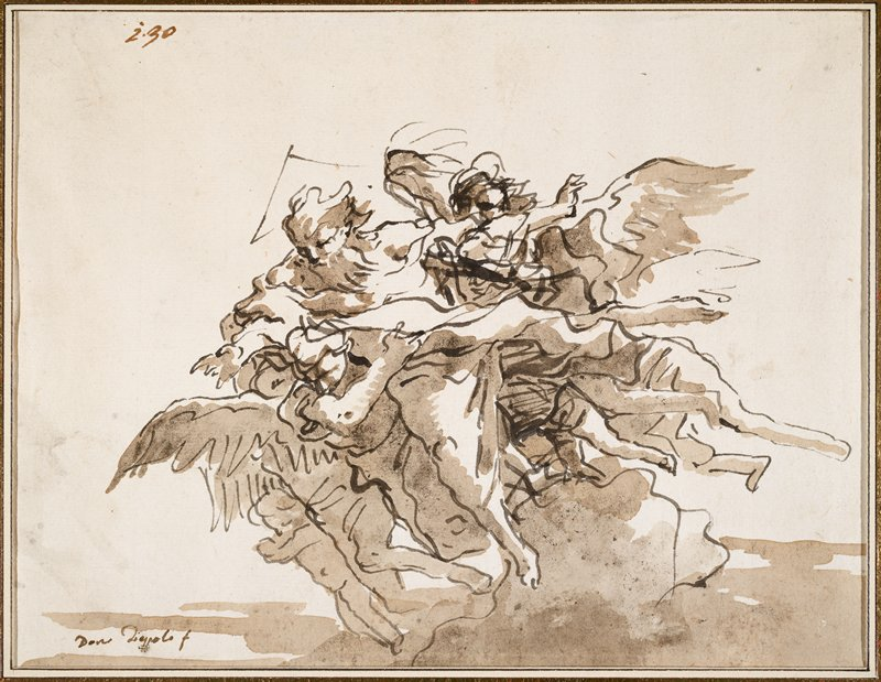 sketch of cluster of flying figures, moving to left; God at center with long beard accompanied by angels and putti; grey area in LRQ