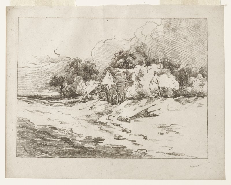 landscape; crayon-like image of a building (barn or house) at center of landscape with treesaround it; a river and/or road in foreground