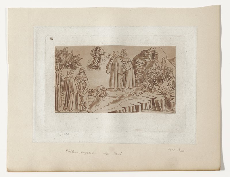 Poets shown twice in a rocky landscape; on the left in converstaion; in center looking at a vision of Beatrice in the sky; hill on right with inscription PER ME