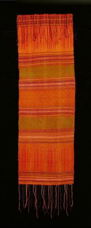 plain weave; horizontal stripes; supplemental weft; primarily orange and green