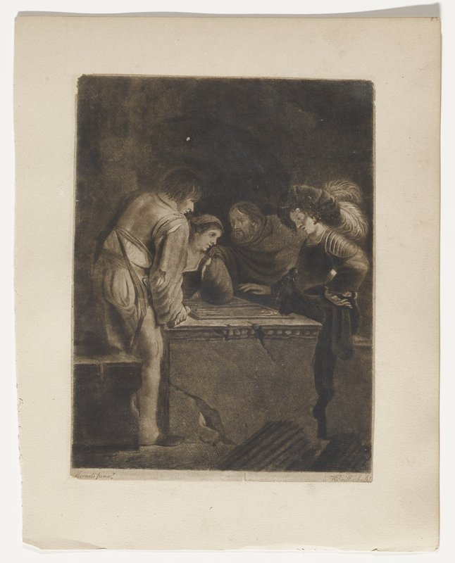 four figures around a backgammon board; man at right with plumes in hat and hand on hip; next man with hand on woman's shoulder; man ar left wearing sword holding dice cup