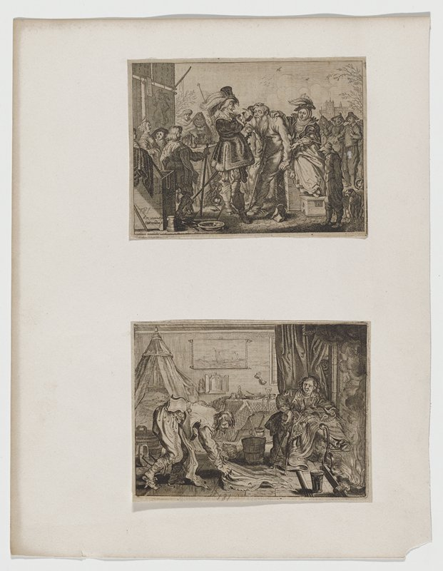 "two images mounted on one sheet both from ""Tarfereel Van de Belacchende Werelt""; a) crowd of people in street; richly dressed man in center with medical instrument in hand pointed at eye of pooly dressed man with long beard leaning on a crutch; richly dressed woman seated behind holding/supporting poor man b) two figures in room with canopied bed; woman seated with feet up at fire; man washing floor; table set for meal in center background; painting of ships on wall above table"