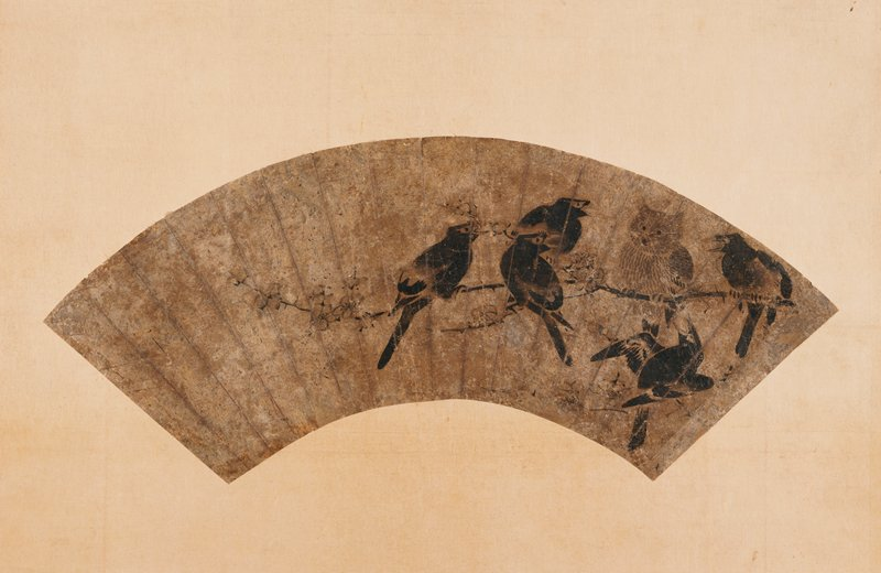 painted fan; owl perched on branch at UR, surrounded by black birds; blackbirds are all facing owl with beaks open, as if mocking
