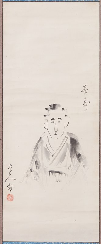 man in grey robes seated, facing outward toward viewer; minimal detail; hands and knees seem to vanish into background; inscription UR edge and LL edge