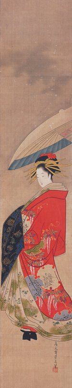 3/4 profile of woman wrapped in rich, red coat with vibrant white wisteria design with gray and beige ornamentation; pastel colored inner folds with green floral decoration; black cloth over hands; ornate hairpiece; white and blue parasol is held over her head at R by unseen attendant