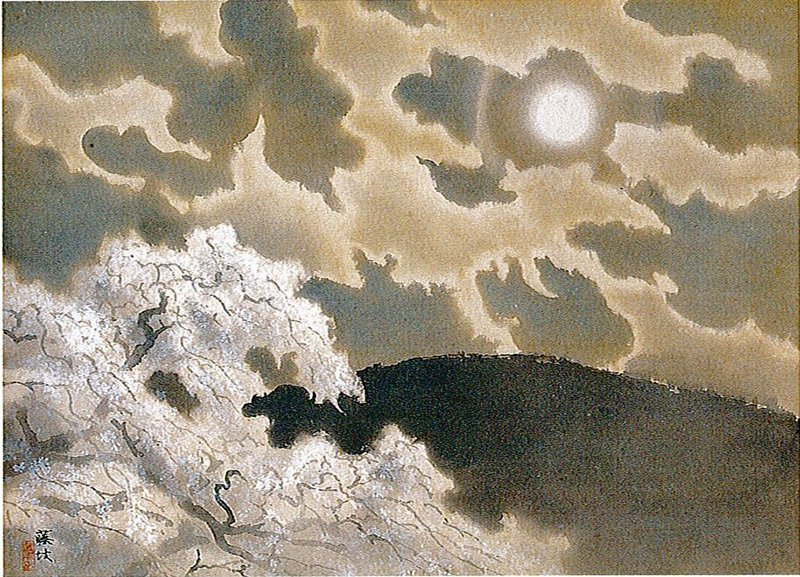 night scene with moon in URC; dark mountain at bottom, LRC; cherry tree with white blossoms, LRC; clouds passing over sky