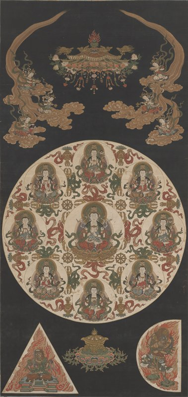 large mandala with white background at center with 8 vignettes of Buddhas in various poses, seated on lotus blossoms; at center of circle is Buddha seated within lotus blossom decorated with golden lion heads; at top: inverted lotus-like form with golden birds; figures at UL and UR with offerings riding in on golden clouds; at LL, triangular vignette of blue figure seated before flames; at LR, semi-circle of blue figure posing in front of flames; black background
