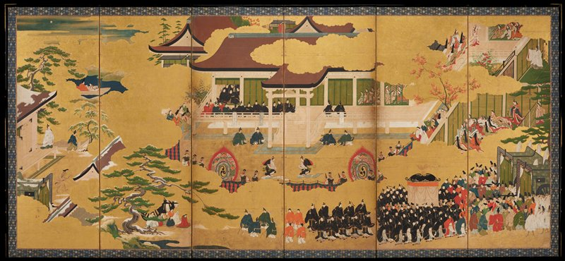 unsigned; left of a pair of six-panel folding screens; many scenes against gold leaf background; edge of building on left panel with snow; building at top across panels three to six the many seated figures wearing black with a few wearing red and blue; procession in LR of panels five and six with figures in black carrying covered dias and pulling two green carriages behind