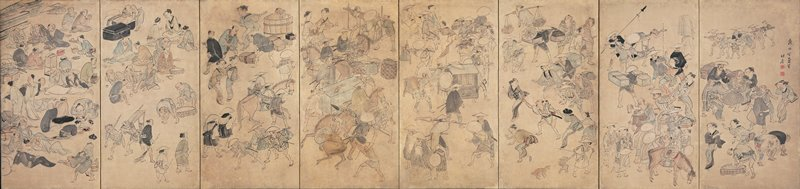 bustling crowds of townspeople and travelers; prostitutes pulling on men; people carrying parcels and palanquins; people pulling horses; far L panels depict people sitting and eating, bathing, chatting, looking at pictures, smoking, and receiving massages