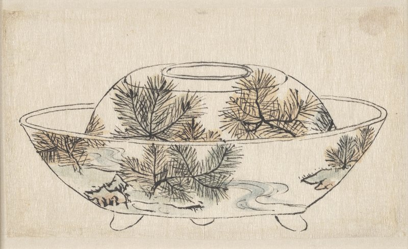 covered bowl with three feet; image of pine boughs on cover highlighted in light blue, green, and orange-yellow watercolor; bottom part of bowl has images of pine boughs, green, rocky landscape, and winding blue stream; also highlighted in blue, green, and orange-yellow