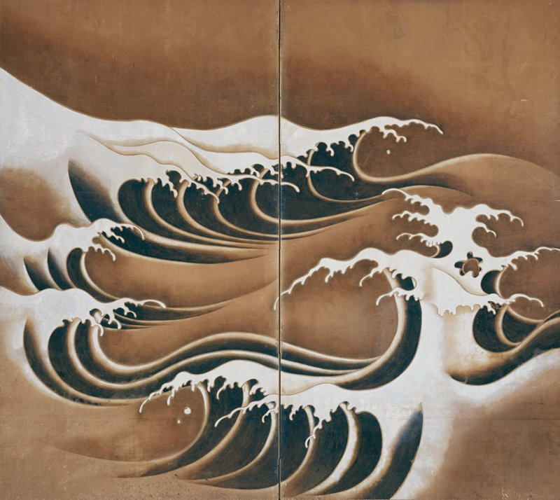 two-panel folding screen with powerful green waves capped with white, fingerlike crest; dark tan background