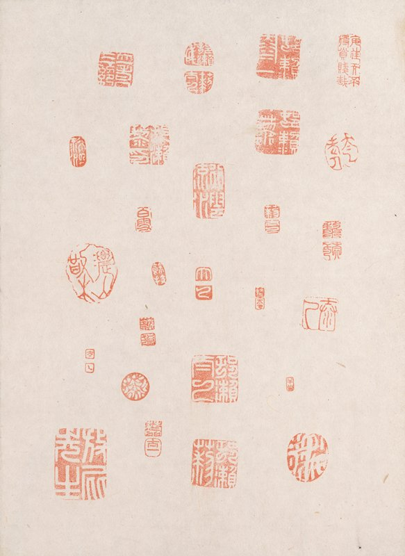 assortment of red seals in different sizes and shapes