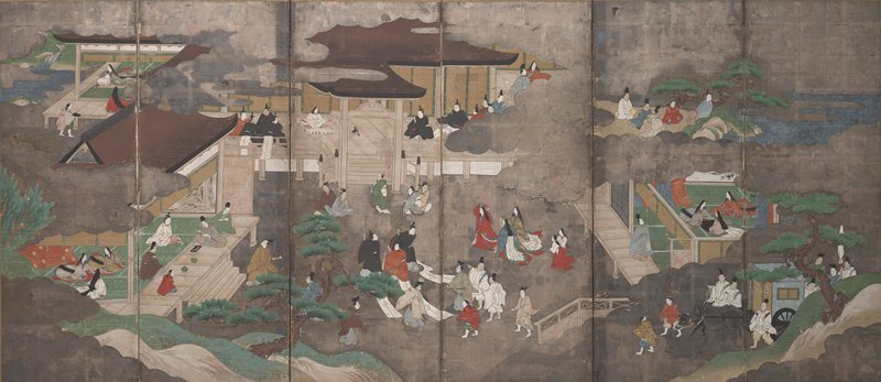 unsigned; many different scenes with people sitting in small groups inside of buildings, on verandahs, or standing near trees outside; scenes separated by silver clouds: people sitting on and inside a building doing calligraphy; woman inside room looking at a river; men and women outside near trees; scholars seated near rocks; men near a carriage pulled by a black ox, etc.