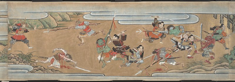 gruesome battle scenes between humans in samurai armor and demons and monsters; crowds of men and women near end