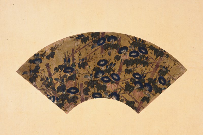 golden fan painted with morning glories in blossom supported by wooden posts; calligraphy throughout image