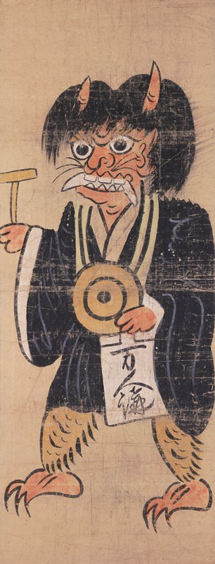 horned red demon with fangs dressed in priest's black robe; demon holds gong and inscribed paper in PL hand, striker in PR; bushy hair, clawed feet
