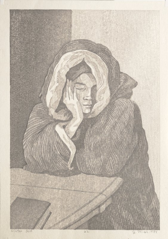 human figure wearing thick jacket with hood around head, leaning against table; resting face in PR hand; closed book on table at LR; rendered in greys