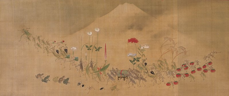 "procession of crickets, grasshoppers, mantises, and other insects carrying flowers, tomato ""bindles"", and vegetables; group of grasshoppers carry palanquin at center; other insects, spiders, and frogs look on below; mountain in background"