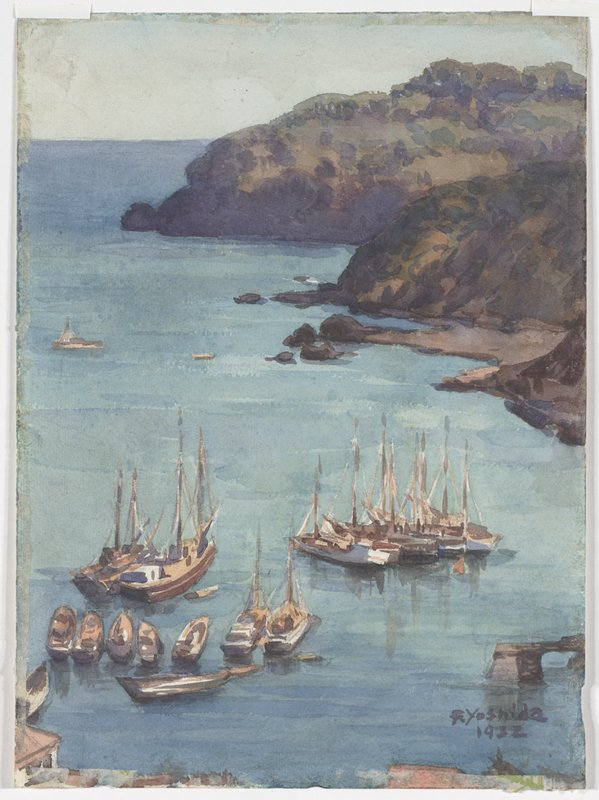 Watercolor, unmounted. scene of various sailboats moored in a harbor from high vantage point; hint of seaside buildings at LL; rocky bluffs in background