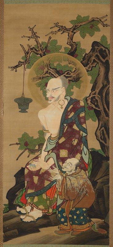 seated figure with purple, green, and gold robe over PL shoulder holds green jewel in PR hand, stroking it with PL hand; figure has large hoop earring, distended earlobe; exaggerated features, bald forehead; halo around figure; seated before tree with few green leaves and purple flowers; short figure with long fingernails and outstretched arms stands at seated figure's PL; chalice hanging from tree in front of Rakan