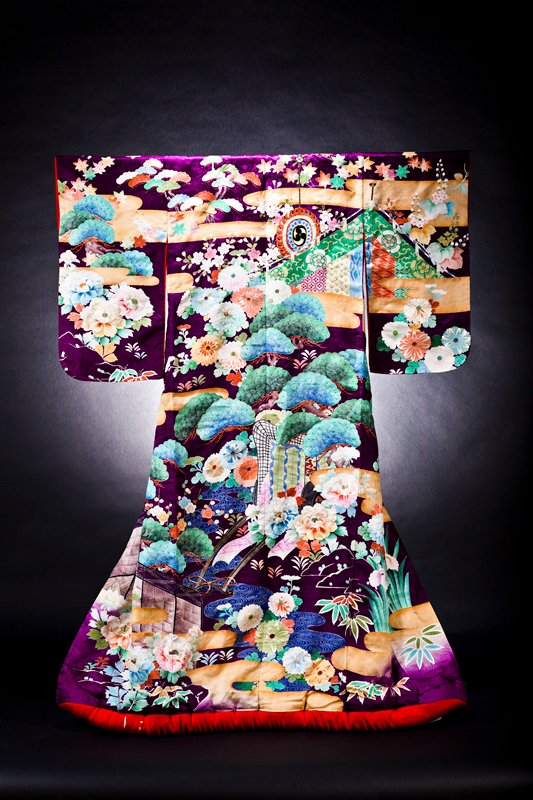 purple yuzen uchikake with carts, flowers, trees and cloud motifs