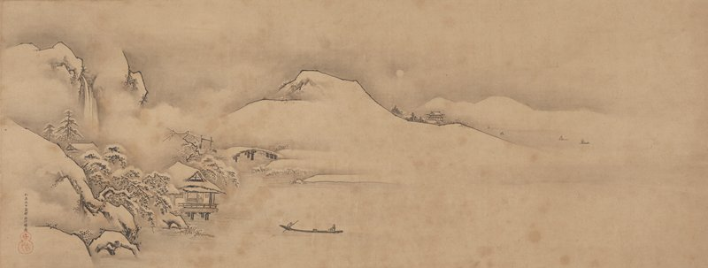 snowy landscape: snow-covered house on stilts among a few pines and rocks at L; three snow-covered mountains in background; two figures in boat lower center; waterfall UL; distant boats in bay at UR