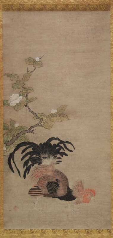rooster with head held low to ground, fiercely looking toward R side of scroll; tail feathers erect, wide stance; blossoming crooked branch with big white flowers and green leaves at center L edge