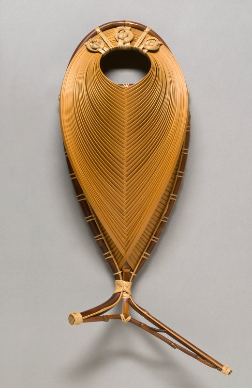 fish-shaped basket with flat bottom; herringbone pattern over spine; long, narrow copper insert with flattened bottom