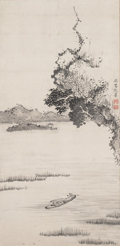 portion of overhanging cliff with gnarled trees and foliage at LRQ; small boat with passengers lower center; low mountains and island at L