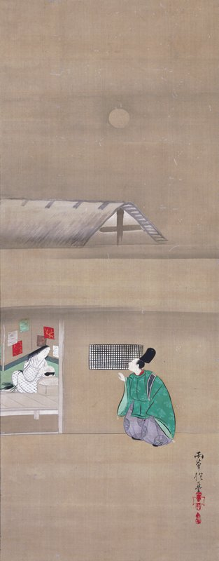 a man in bight green outer robe crouches and peers through a slatted window; inside (at left), a woman in white kimono with black decoration scoops rice into a bowl from a large vat; above is a rooftop and the moon