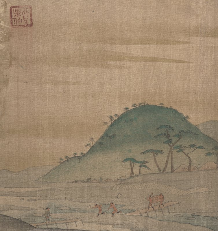 two male figures at LLQ wearing white loin cloths crawling on all fours; each has another man riding on his shoulders; narrow river in background with figures URQ; small buildings URQ