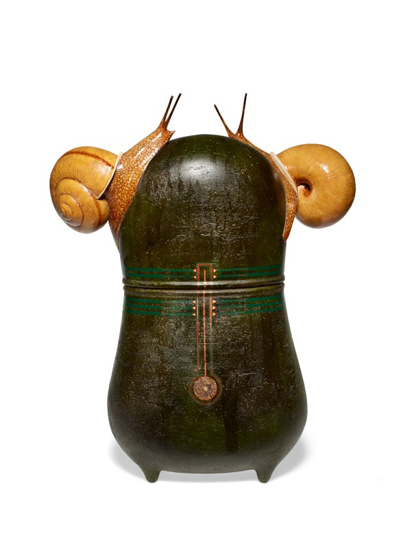 black-green gourd-shaped vessel with two three-dimensional snails crawling on lid; sparsely decorated with red, green, and gold geometric motif on front and back; gold boarder around lip of vessel with purple flowers and inlay