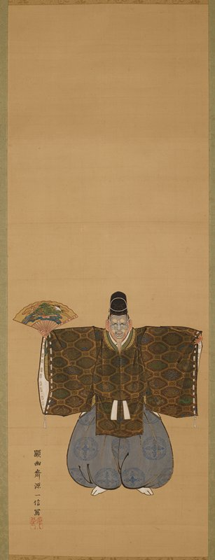 center scroll: male figure wearing gray face mask standing facing viewer with arms outstretched; brocade brown and gold top; billowing blue pants with blue designs; tall black hat; decorated fan in PR hand; face mask has white tassels and goatee