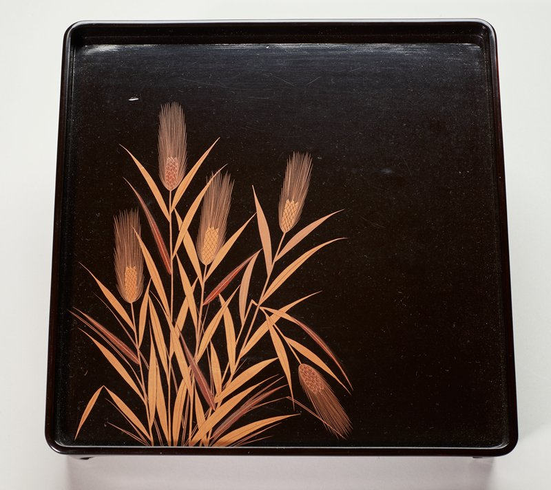 black lacquer food tray with pampas grass design at lower corner