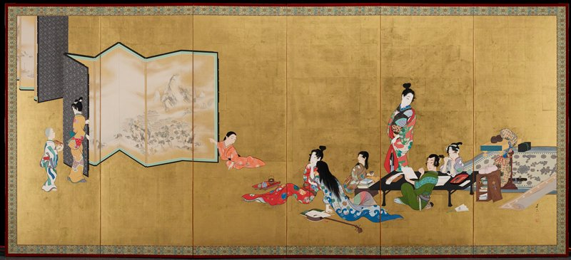 six-panel folding screen; on L a girl and child are opening up a screen of a landscape, the girl is holding the right edge of the screen; on R two reclining figures are next to a group of three figures seated around a table with one standing woman; the seated figures are a girl with books in front of her, a man looking at a book, and a girl making paper cranes; to the far right is an oriental rung with a table with the game of go, a biwa wrapped in fabric, and a stationery box