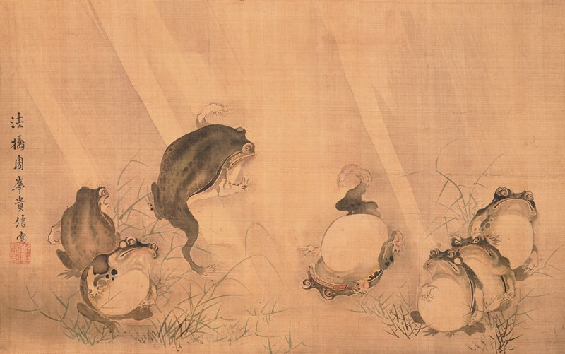 seven frogs: two frogs at center engaged in wrestling match, with frog at L leaping with arms sprawled; frog at R rolling onto back with wide grimace on face; two frogs with worried looks observing at L; three angry looking frogs watching at R