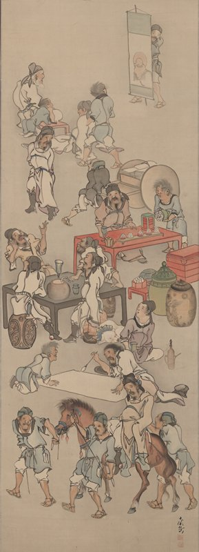 group of drunken men clustered around tables, attempting calligraphy, leading and riding a horse; man at UR standing behind banner