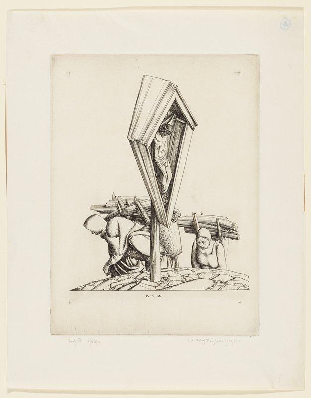 two women with large loads of wood piled on backs, struggling under weight, passing elevated, diamond-shaped shrine of Jesus on crucifix