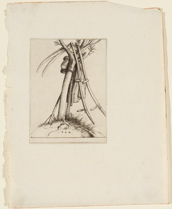 slightly bent tree with few branches shown; scythes resting, some hooked into crotch of tree; other tools with wooden handles and a work coat rest around the tree; grasses at base of tree