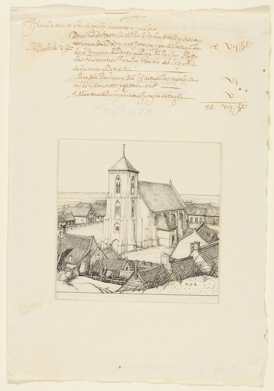 church surrounded by buildings; buildings closer to church, some huts have planks and shutters on roof; church roof tiled; more details; brown script at top