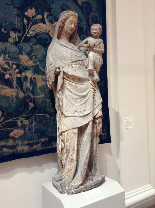 Madonna and Child, polychromed limestone, French XIVc.