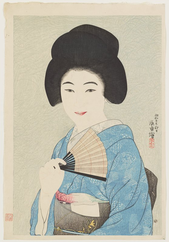 bust portrait of young woman wearing a blue kimono and black obi with yellow flowers, holding a striped fan