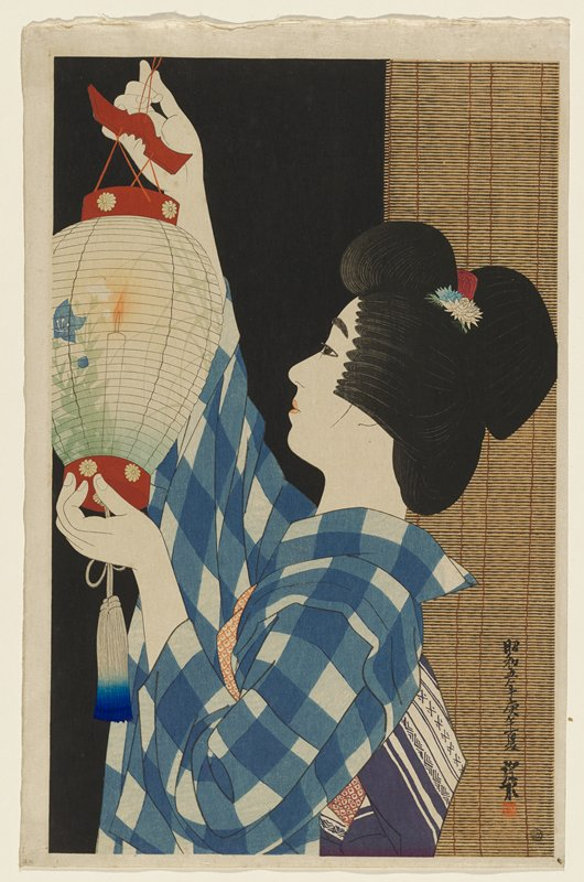 bust portrait of woman in profile wearing blue and white plaid kimono, hanging a paper lantern with blue flowers