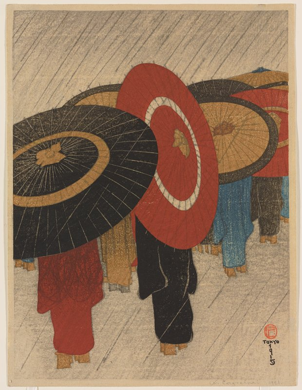 legs and lower bodies of kimono-clad figures wearing geta sandals, with their upper bodies hidden by large umbrellas; falling rain; multicolors