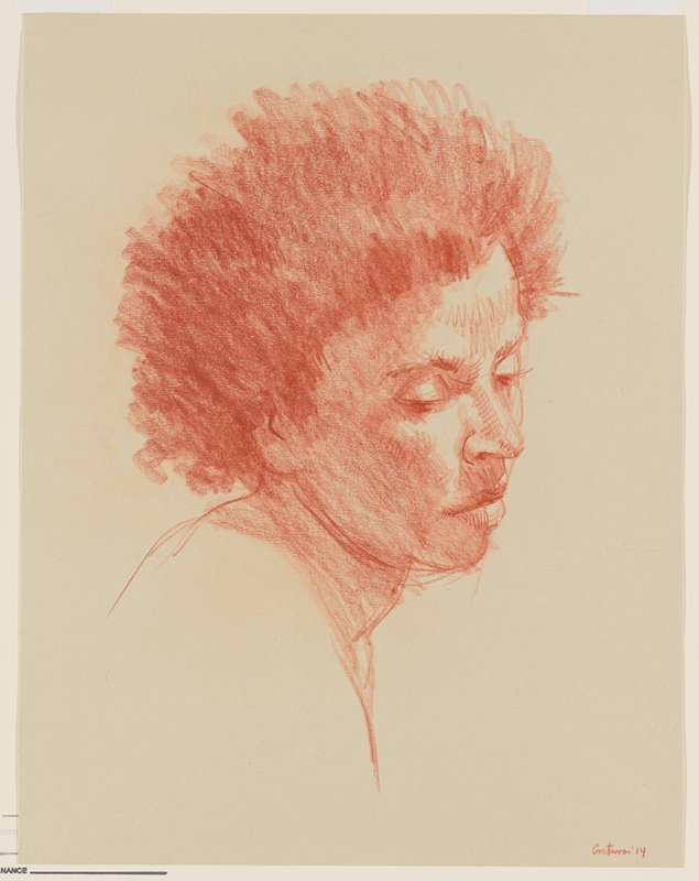 head of a woman, turned 3/4 toward PR, with short, shaggy hair; light tan paper